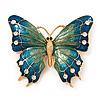 Oversized Teal Green Enamel Butterfly Brooch (Gold Tone Metal)