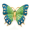 Oversized Teal Green/ Salad Green Enamel Butterfly Brooch (Gold Tone Metal) - 80mm Across