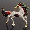 Oversized Diamante Enamel Horse Brooch In Rhodium Plated Metal