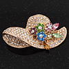 Charming Diamante &#039;Hat&#039; Brooch In Gold Plated Metal