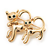 'Cat Family' Gold Plated Brooch