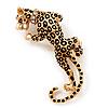 'Roaring Leopard' Gold Plated Brooch