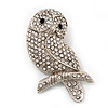 'Wise Owl' Clear Crystal Brooch (Silver Tone Metal)