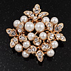 White Faux Imitation Pearl Crystal Scarf Pin/ Brooch In Gold Plated Metal