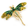 Green/ Olive Swarovski Crystal Dragonfly Brooch/ Pendant (Gold Plated Metal)