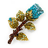 Exquisite Teal Blue Swarovski Crystal Rose Brooch (Gold Plated Metal) - 60mm Across