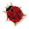 Red Swarovski Crystal Ladybug Brooch (Gold Tone Metal) - 30mm Length