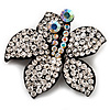 Stunning Clear Diamante Flower Brooch (Gun Metal Finish)