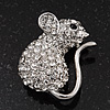 Tiny Crystal Mouse Pin In Rhodium Plated Metal