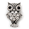 Antique Silver Metal Clear Crystal Owl Brooch