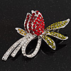 Rhodium Plated Crystal Rose Brooch (Red, Burgundy, Green & Clear)