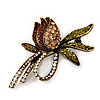 Vintage Burn Gold Crystal Rose Brooch (Amber, Citrine, Olive &amp; Clear)
