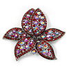 Large Pink/Red Diamante Floral Brooch/ Pendant (Silver Metal Finish)