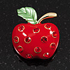 Bright Red Crystal Apple Brooch In Gold Plated Metal