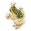 Small Salad Green Enamel Swarovski Crystal 'Leaping Frog' Brooch In Gold Plated Metal - 3cm Length