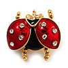 Red/Black Enamel Crystal Lady Bug Brooch In Gold Plated Metal - 2.3cm Length