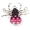 Swarovski Crystal Spider Brooch In Rhodium Plated Metal