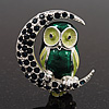 Green Enamel Crystal 'Owl On The Moon' Brooch In Silver Plated Metal