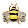 Yellow/Black Enamel Bee Brooch In Gold Plated Metal - 4cm Length