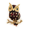 Small Brown Enamel 'Owl' Brooch In Gold Plated Metal