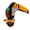 Exotic Enamel Crystal 'Parrot' Bird Brooch In Gold Plated Metal - 35mm L