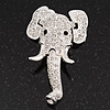 Swarovski Crystal 'Elephant Head' Brooch In Rhodium Plated Metal
