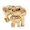 Gold Plated 'Mother&Baby Elephant' Brooch