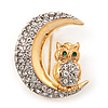Clear Swarovski Crystal 'Owl On The Moon' Brooch In Gold Plated Metal