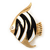 Black/White Enamel &#039;Fish&#039; Brooch In Gold Plated Metal