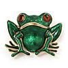 Green Enamel 'Toad' Brooch In Gold Plated Metal