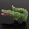 Salad Green Swarovski Crystal &#039;Crocodile&#039; Brooch In Rhodium Plated Metal