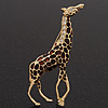 Gold Plated Enamel &#039;Giraffe&#039; Brooch