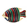 Multicoloured Enamel 'Fish' Brooch In Gold Plated Metal