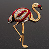 Crystal Enamel &#039;Flamingo&#039; In Gold Plated Metal