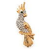 Gold Plated Clear Austrian Crystal Parrot Bird Brooch - 50mm L