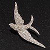 Swarovski Crystal Swallow Brooch In Rhodium Plated Metal