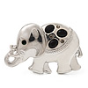 Rhodium Plated 'Elephant' Brooch