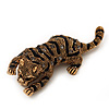 Crystal Enamel Tiger Brooch In Antique Gold Metal