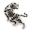 &#039;Roaring Tiger&#039; Brooch In Rhodium Plated Metal