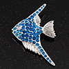 Blue Crystal Exotic 'Fish' Brooch In Rhodium Plated Metal