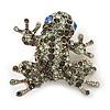 Swarovski Crystal 'Frog' Brooch In Rhodium Plated Metal (Light Green/ Grey)