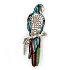 Oversized Multicoloured Enamel &#039;Parrot&#039; Brooch In Silver Plated Metal - 10cm Length
