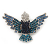 Blue Swarovski Crystal 'Flying Bird' Brooch In Rhodium Plated Metal - 5cm Length