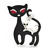&#039;Mother &amp; Baby Cat Family&#039; Brooch In Silver Tone Metal - 4.5cm Length