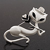 White Matte Enamel &#039;Lady Cat With Black Rose&#039; Brooch In Silver Tone Metal - 5.5cm Length