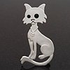 White Matte Enamel 'Cat' Brooch In Silver Tone Metal - 7cm Length