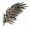 Stunning Large Crystal Leaf Brooch In Antique Gold Metal (Jet Black/Grey) - 9cm Length