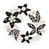 Black Enamel Simulated Pearl Crystal Wreath Brooch In Silver Tone Finish - 5cm Diameter