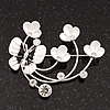 Flower & Butterfly White/Black Enamel Crystal Brooch In Silver Tone Metal - 6cm Length