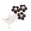 Deep Purple Crystal 'Triple Flower' Brooch In Silver Metal - 4.5cm Length